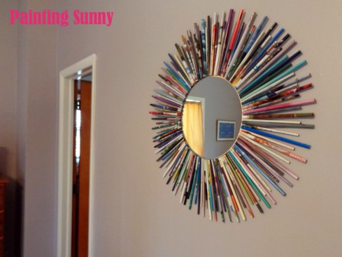 Recycled Magazine Sunburst Mirror | Painting Sunny