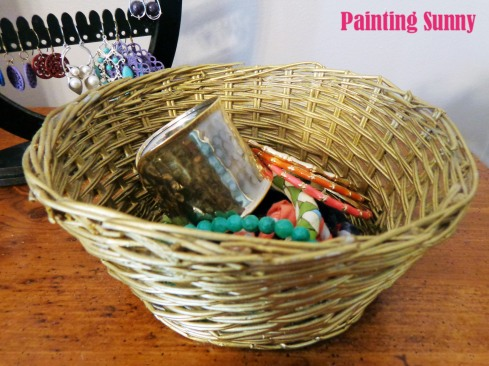 Spray-painted gold thrift store baskets | Painting Sunny