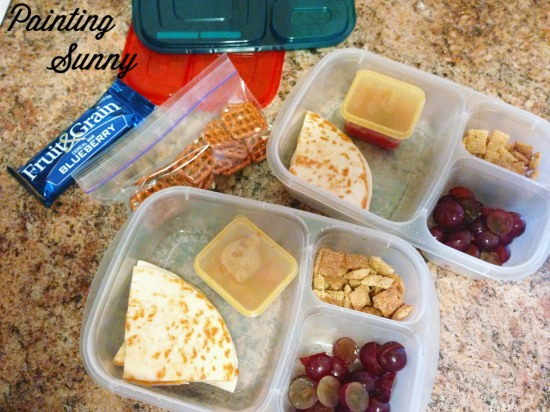 More School Lunches: Cheese quesadilla, salsa, sliced grapes, and cinnamon Chex cereal | Painting Sunny