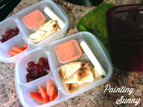 More School Lunches: Naan bread slices, vegetable hummus, baby carrots, string cheese, and sliced grapes | Painting Sunny