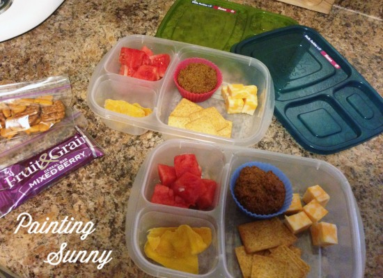 School Lunch Idea, Day 1: Cheese, crackers, watermelon, muffin, dried mango | Painting Sunny