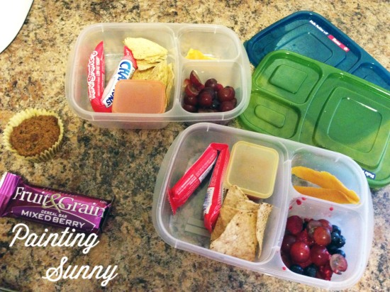 School Lunch Idea, Day 2: Tortilla chips, salsa, berries & grapes, yogurt, dried mango | Painting Sunny