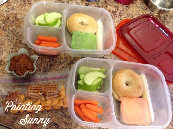 School Lunch Idea, Day 3: Mini Bagel, hummus, apple, string cheese, carrots | Painting Sunny