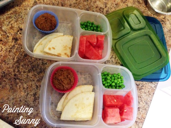 School Lunch Idea, Day 4: Quesadilla, watermelon, peas, muffin | Painting Sunny