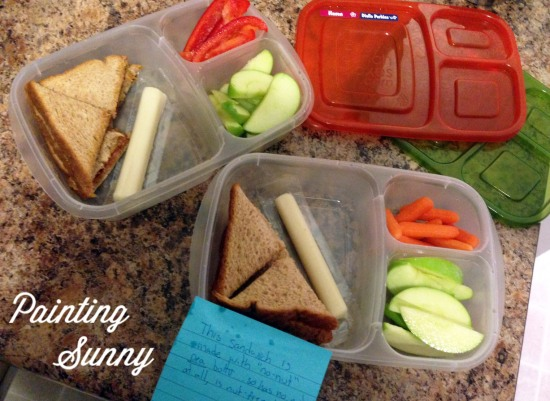 School Lunch Idea, Day 5: PBJ (or nut free butter), string cheese, apple, carrots, red peppers | Painting Sunny